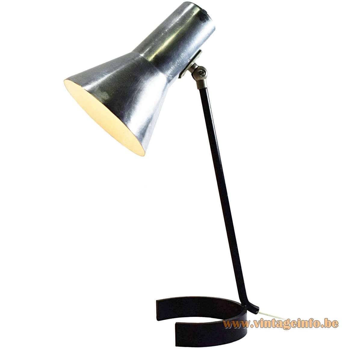 ANVIA Desk Lamp 6043 black iron horseshoe base aluminium lampshade 1950s 1960s MCM