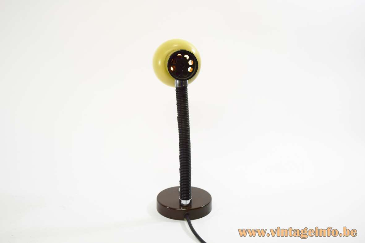 Banana Split Desk Lamp yellow and brown goosenneck round base 1970s Massive KRANIA East Germany MCM