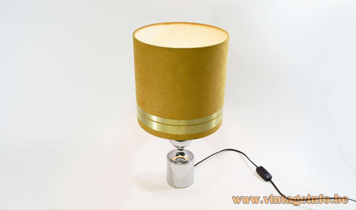 Chrome Barbier style table lamp round base & globe velours lampshade aluminium rings 1960s 1970s Massive Belgium