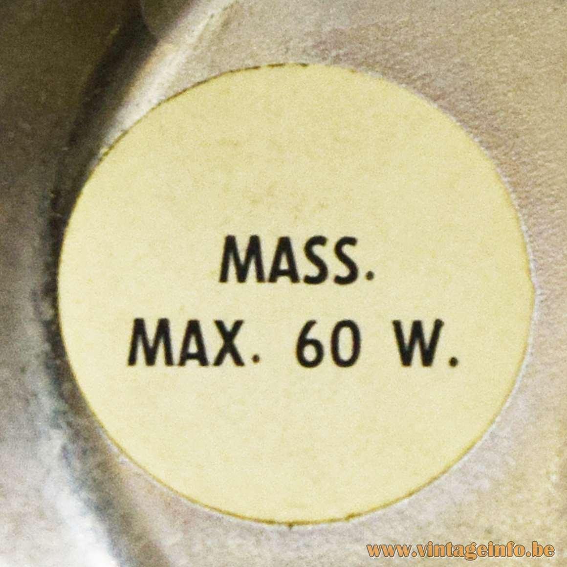 Massive Label Max. 60 W.