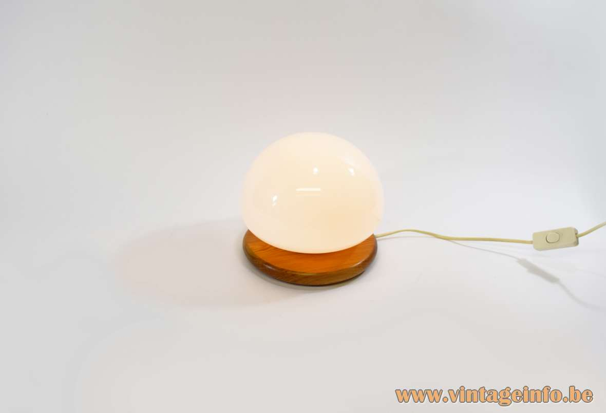 Cosmo Table Lamp Round pinewood base white opal glass dome 1970s 1980s Cosmo Designs LTD England