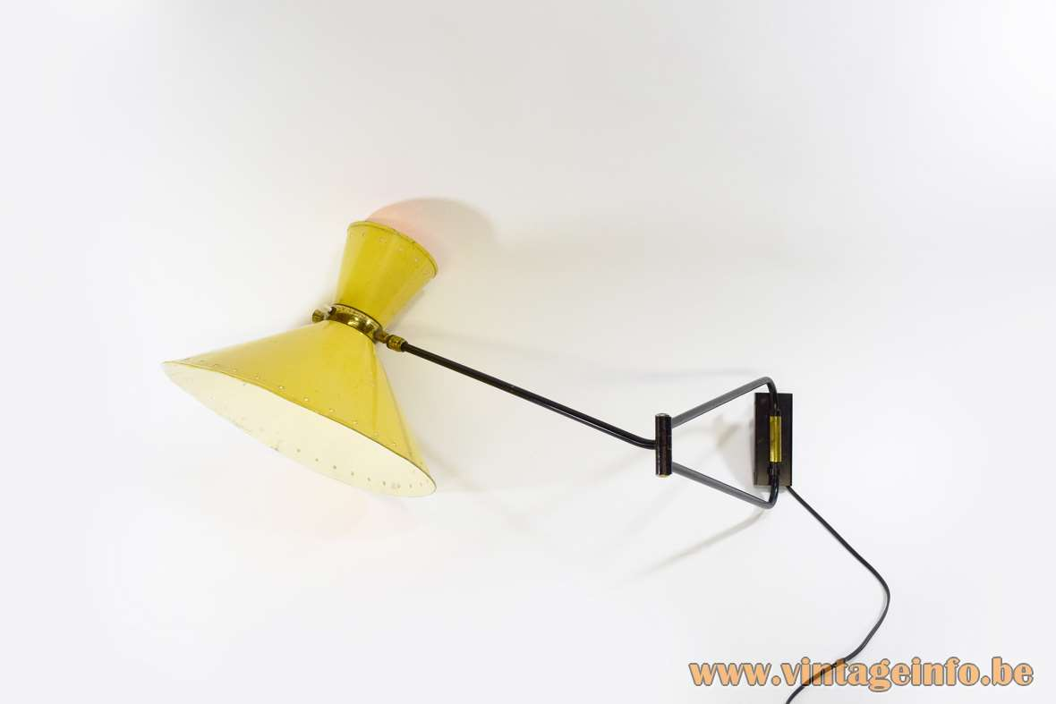 Foldable Diabolo Wall Lamp yellow lampshades perforated pentagonalstars black articulating rods 1950s 1960s MCM B22