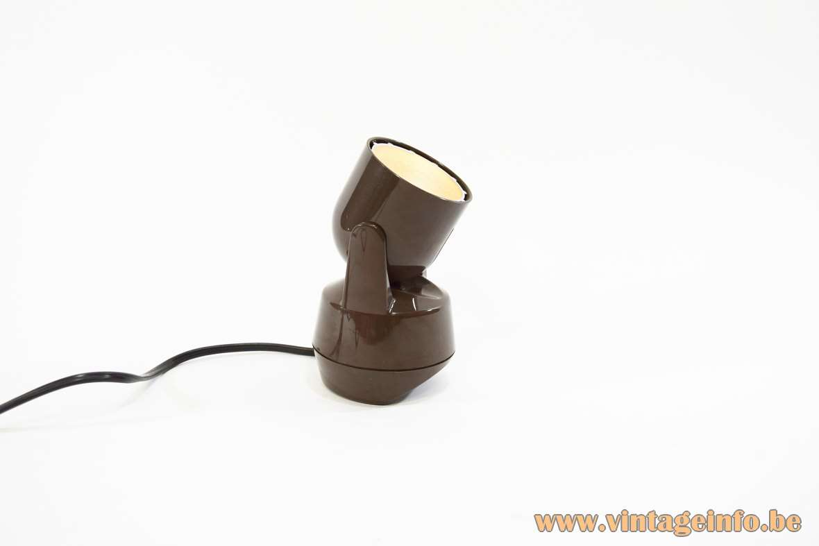 Eichhof Werke Table Lamp brown plastic halogen bulb 220-12 volt transformer inside 1980s