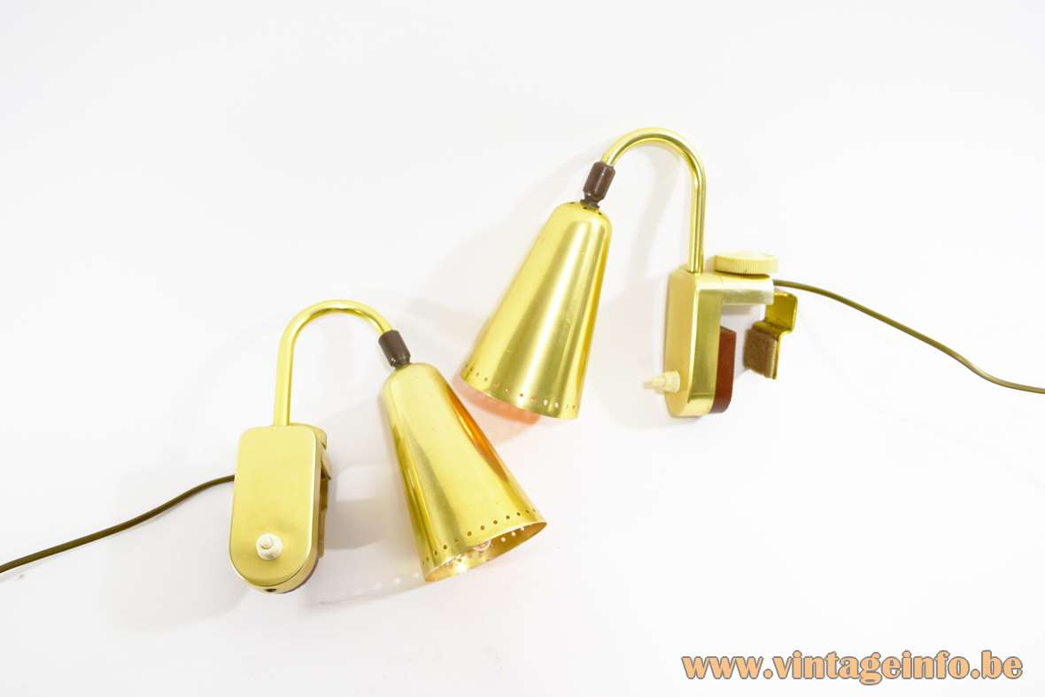 ERCO picture lamps gold anodised aluminium conical lampshades brass curved rods rotary knob 1950s 1960s Germany