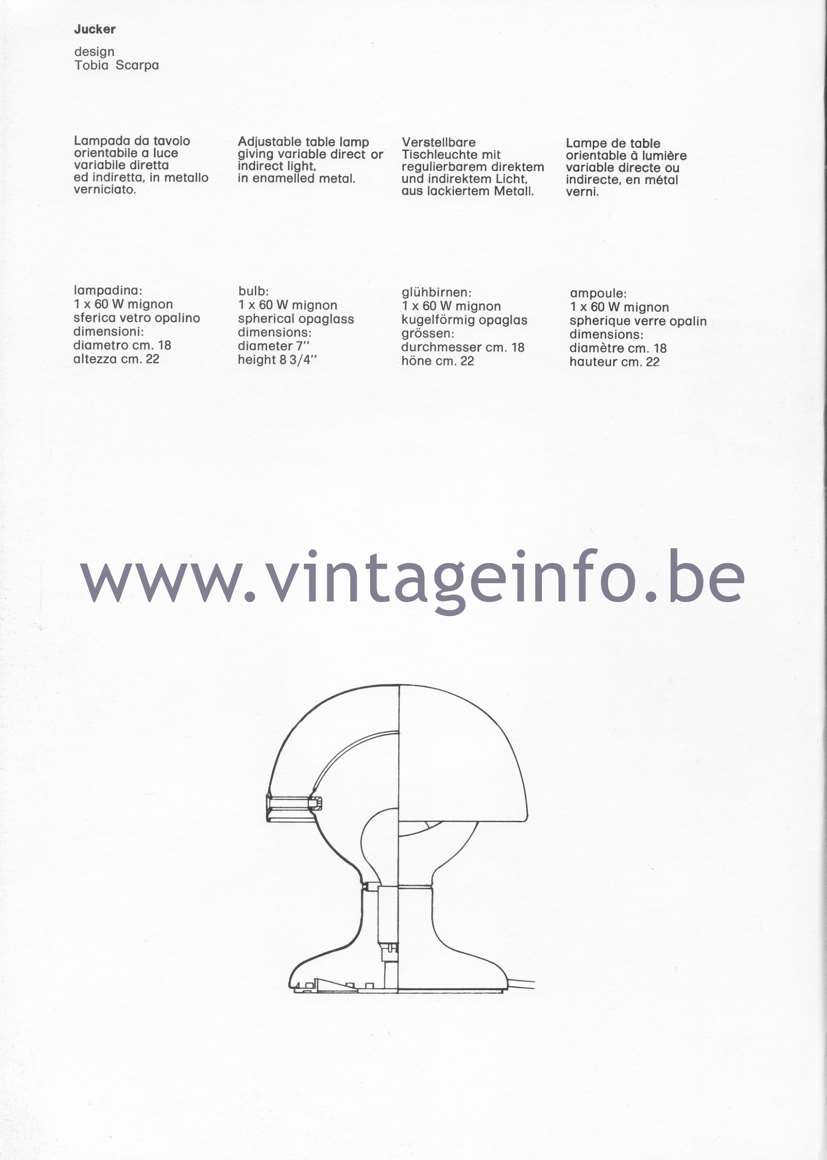 Flos Catalogue 1980 - Jucker Table Lamp - Tobia Scarpa