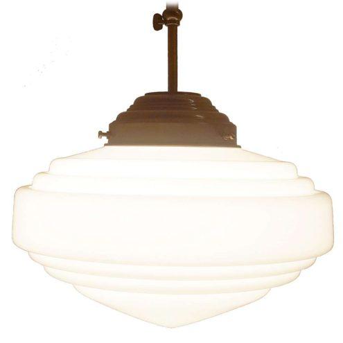 Art deco pendant Lamp Herda white opal glass adjustable rod Bauhaus revival copy 1970s 1980s
