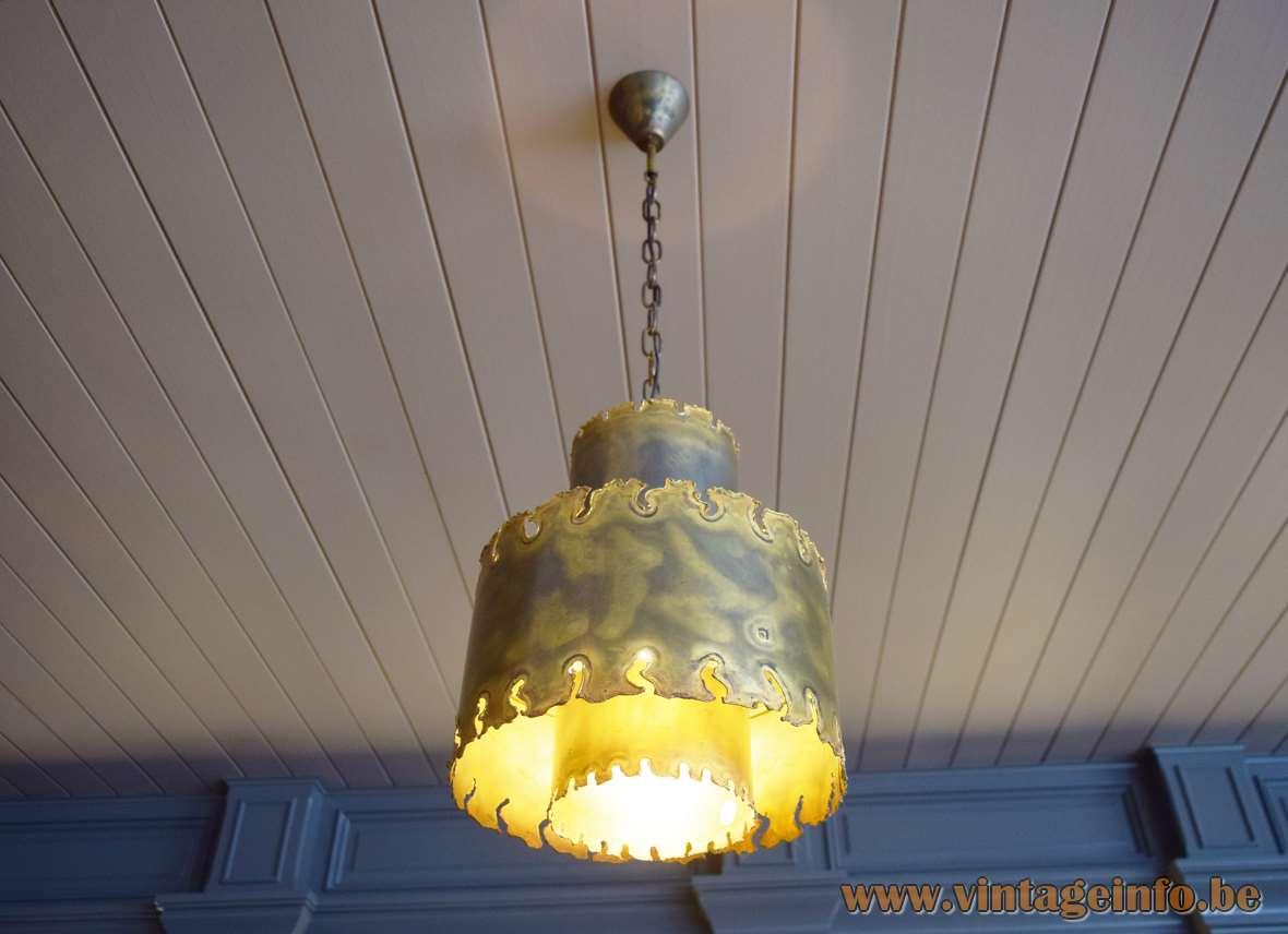 Holm Sørensen brass round pendant lamp brutalist burned metal lampshade 1960s 1970s Denmark Svend Aage design