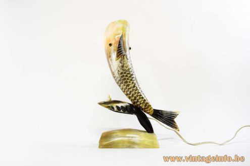 Horn Fish Table Lamp cut cow horn bovine light 1950s 1960s 1970s artisan folk art