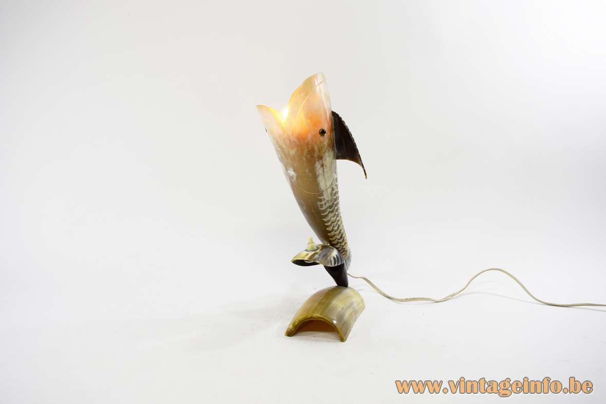Fish table lamp cut cow horn bovine light 1950s 1960s 1970s artisan folk art E14 socket MCM Mid-Century Modern