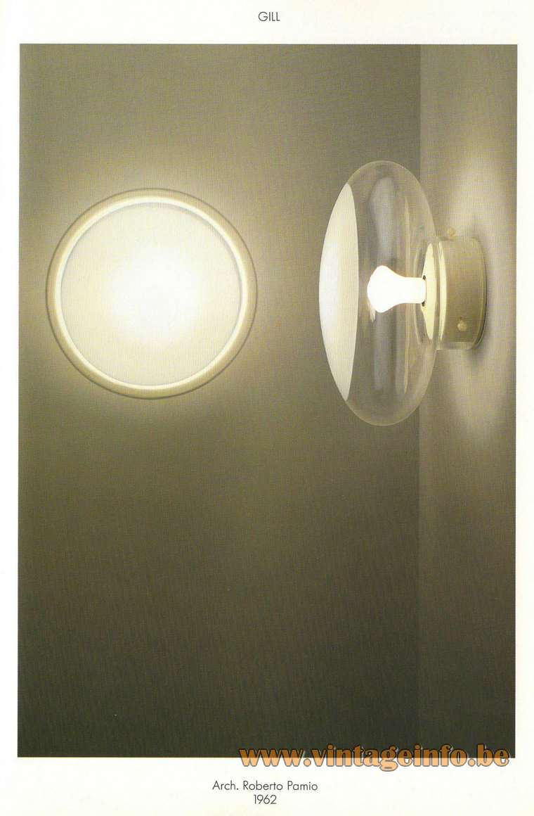 Leucos Gill Flush Mount or Wall Lamp Catalogue Picture Roberto Pamio design 1960s clear & white mushroom round glass