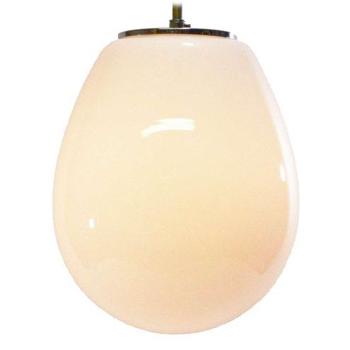 White opal droplet pendant lamp oval glass globe lampshade chrome lid Glashütte Limburg 1960s 1970s Germany