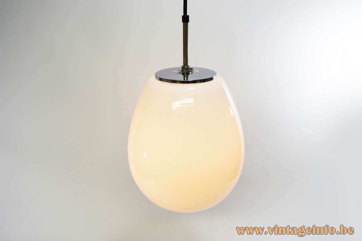 White Opal Droplet Pendant Lamp crystal glass chrome lid Manufacturer: Glashütte Limburg 1970s Mid-Century Modern