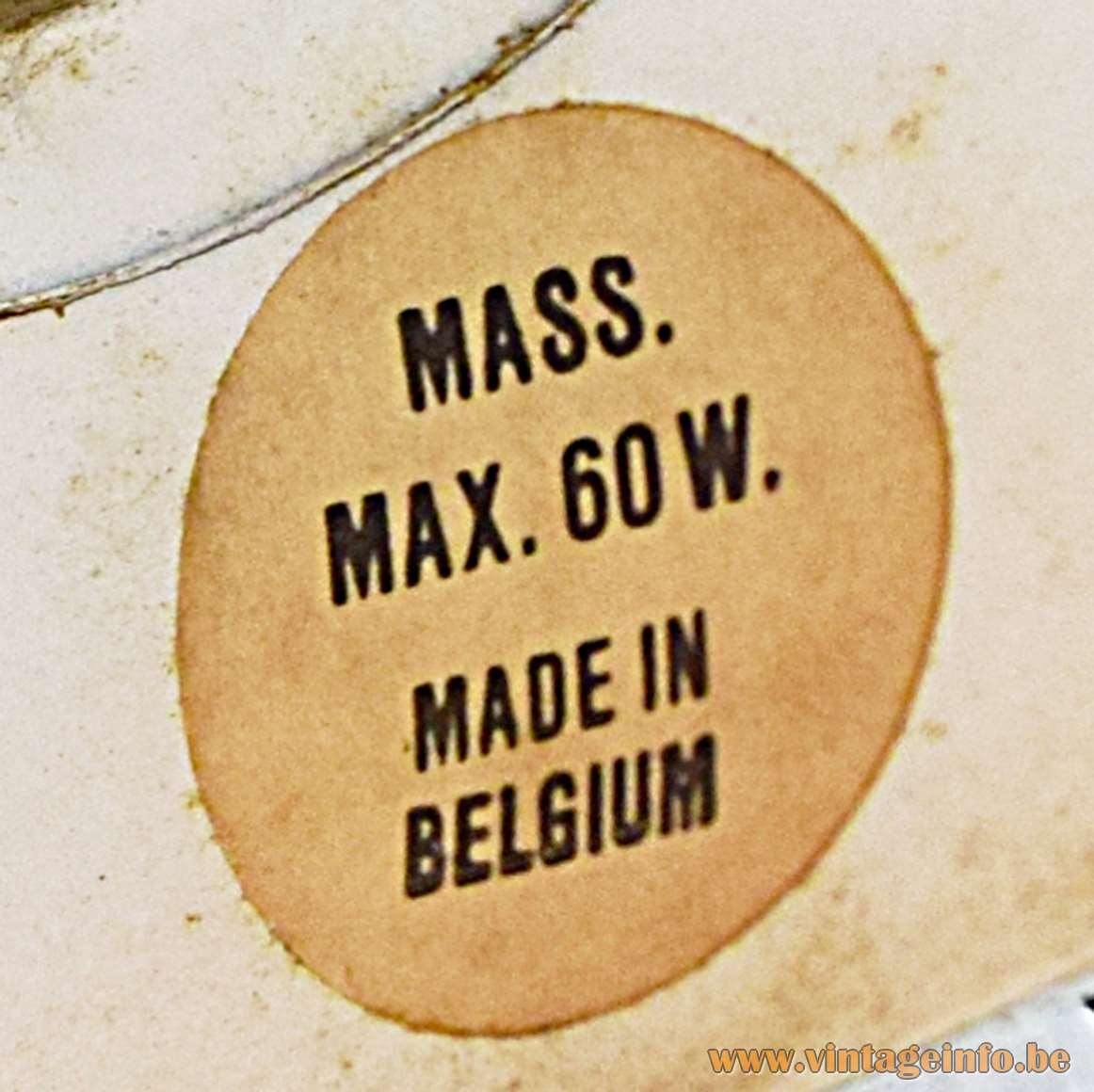 1970s Massive Belgium Label Mass. Max. 60 W. Made In Belgium