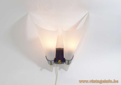 Night Fly Wall Lamp Bakelite brass Rotaflex 2 conical wings/fries bags 1950s 1960s France MCM