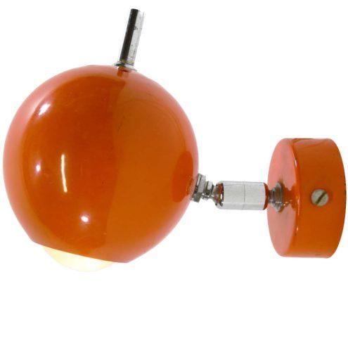 wall lamp globe eyeball orange metal ball spotlight pull cord switch 1960s 1970s MCM Mid-Century Modern