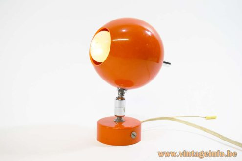 Orange Globe Wall Lamp orange metal ball spotlight round wall mount pull cord switch 1960s 1970s MCM