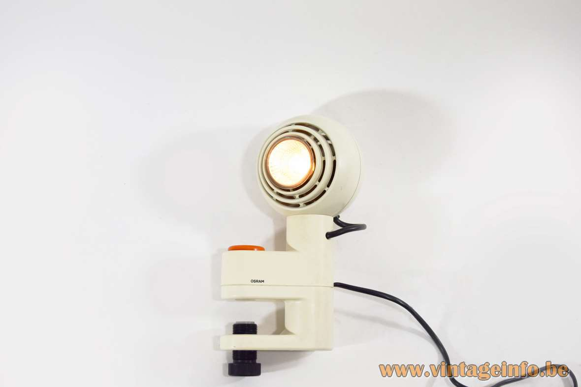 Osram Concentra Agilo clamp lamp white plastic magnetic globe orange round switch Schlagheck Schultes Design 1977