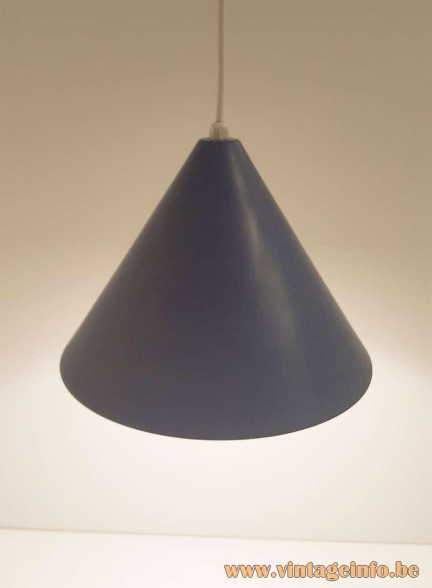 Arne Jacobsen Billiard pendant lamp purple-blue enamelled metal cone lampshade Louis Poulsen Denmark 1960s 1970s MCM
