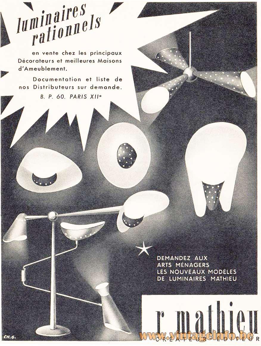 Diabolo Foldable Wall Lamp - R. Mathieu, Luminaires rationnels, publicity 1954