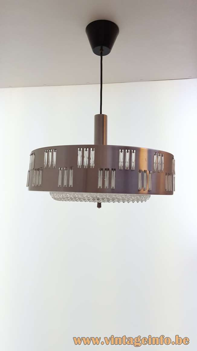 1960s Schmahl & Schulz Pendant Lamp Design: Petersen 1966 glass tubes metal lampshade MCM