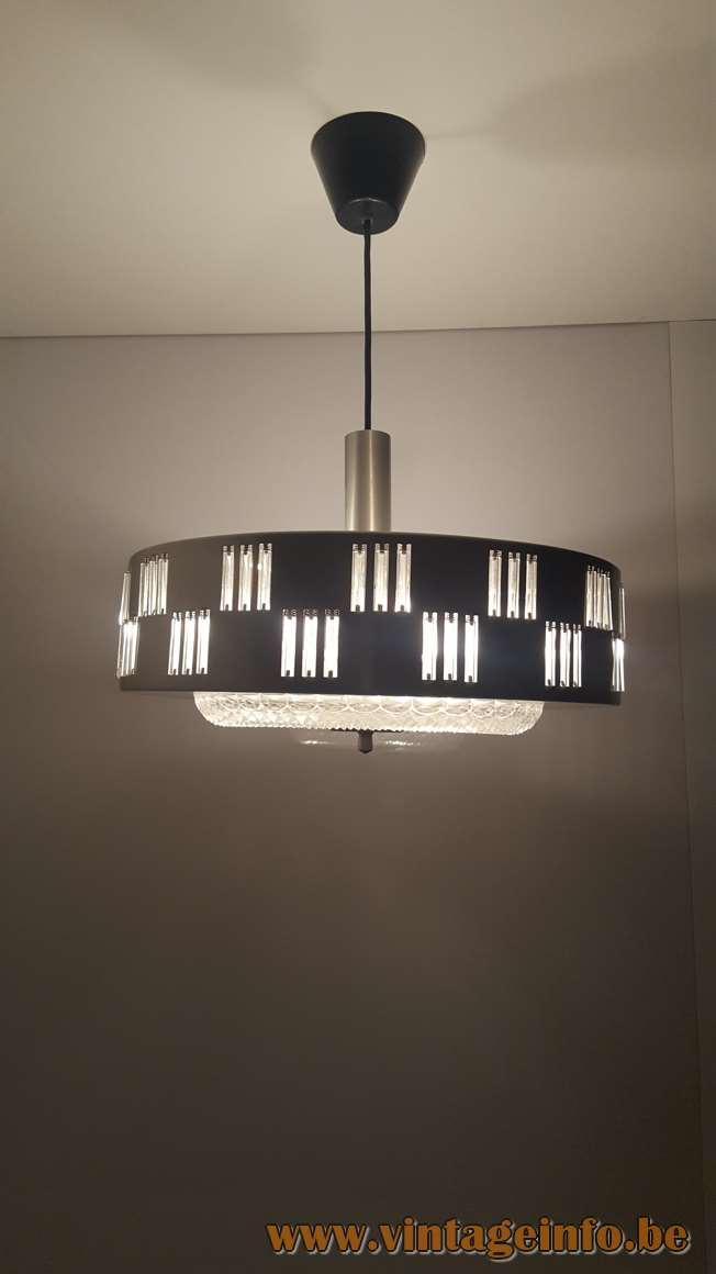 1960s glass rods tubes pendant lamp Design: Petersen metal lampshade Schmahl & Schulz Germany MCM Mid-Century Modern
