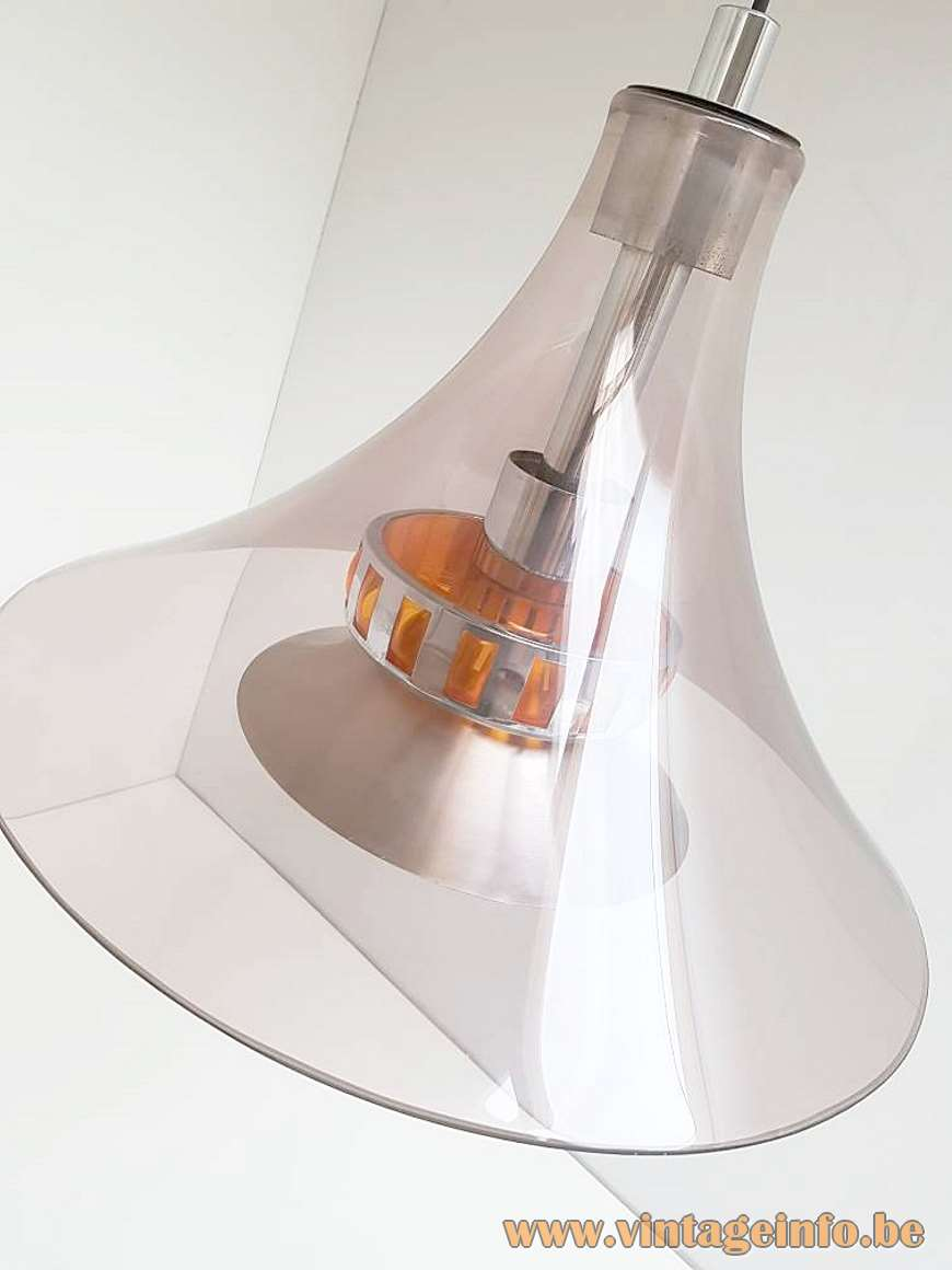 Smoked Acrylic Pendant Lamp round clear lampshade aluminium parts orange plastic Massive Belgium 1970s MCM