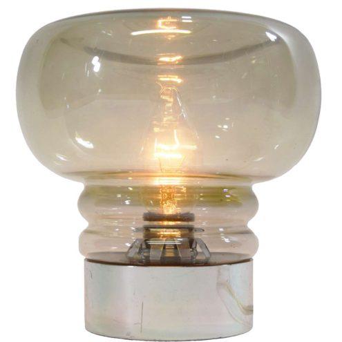 Smoked glass table lamp round chromed plastic base mushroom lampshade Massive Belgium 1960s 1970s E14 socket