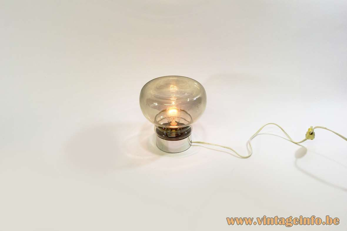 Smoked glass table lamp round chromed plastic base mushroom lampshade Massive Belgium 1960s 1970s E14 socket