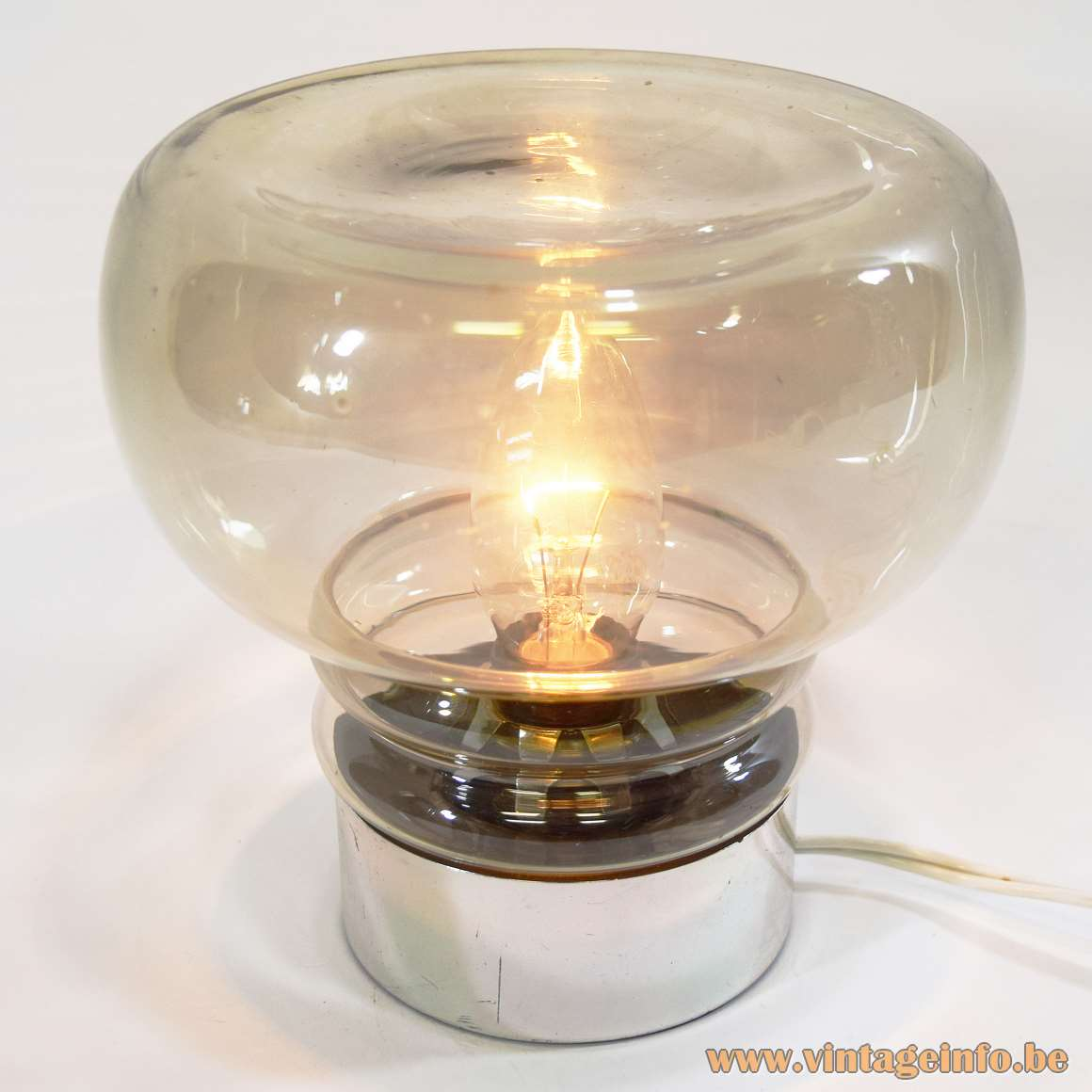Smoked glass table lamp round light made by Massive glass: Peill + Putzler 1960s 1970s MCM