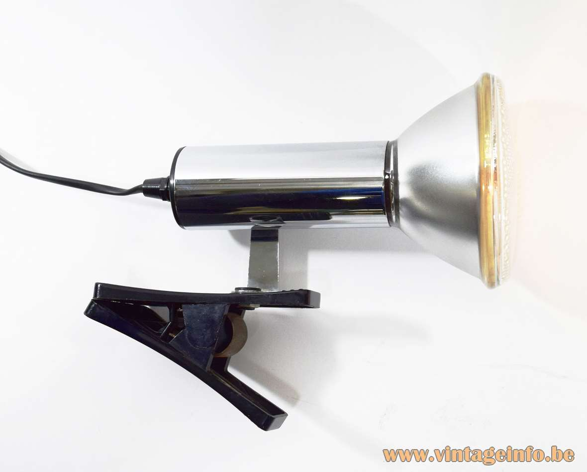 Targetti Clamp Spot Lamp black plastic chrome Par 38 light bulb 1970s 1980s Italy MCM