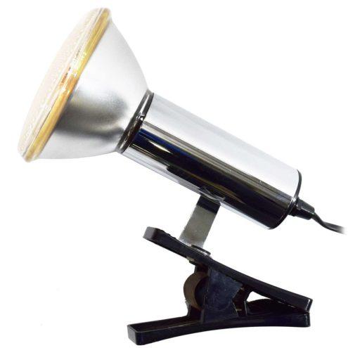 Targetti Clamp Spot Lamp black plastic chrome Par 38 light bulb 1970s 1980s Italy MCM