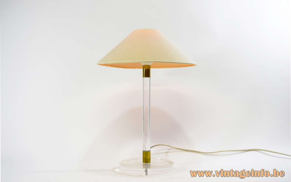 Tom Kater Table Lamp round clear translucent acrylic base and rod brass decoration conical lampshade 1990s