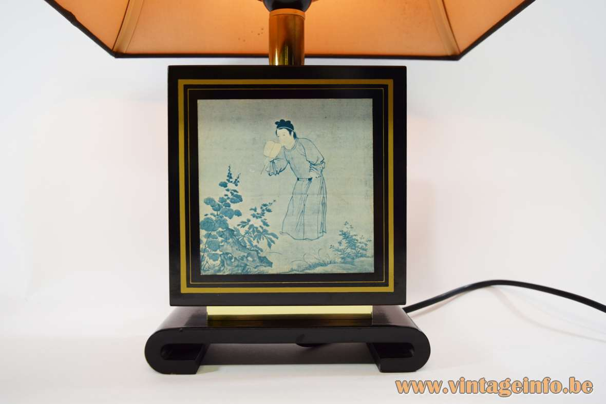 Le Dauphin table lamp black wood pagoda lampshade Chinese painting Enjoying Antiquities Tu Chin 1970s 1980s Hollywood Regency