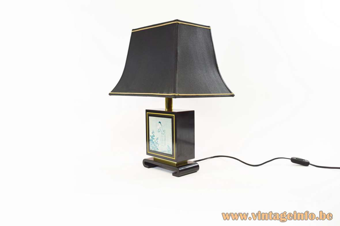 Chinese table lamp Tu Chin black wood pagoda lampshade Le Dauphin France 1970s 1980s Hollywood Regency
