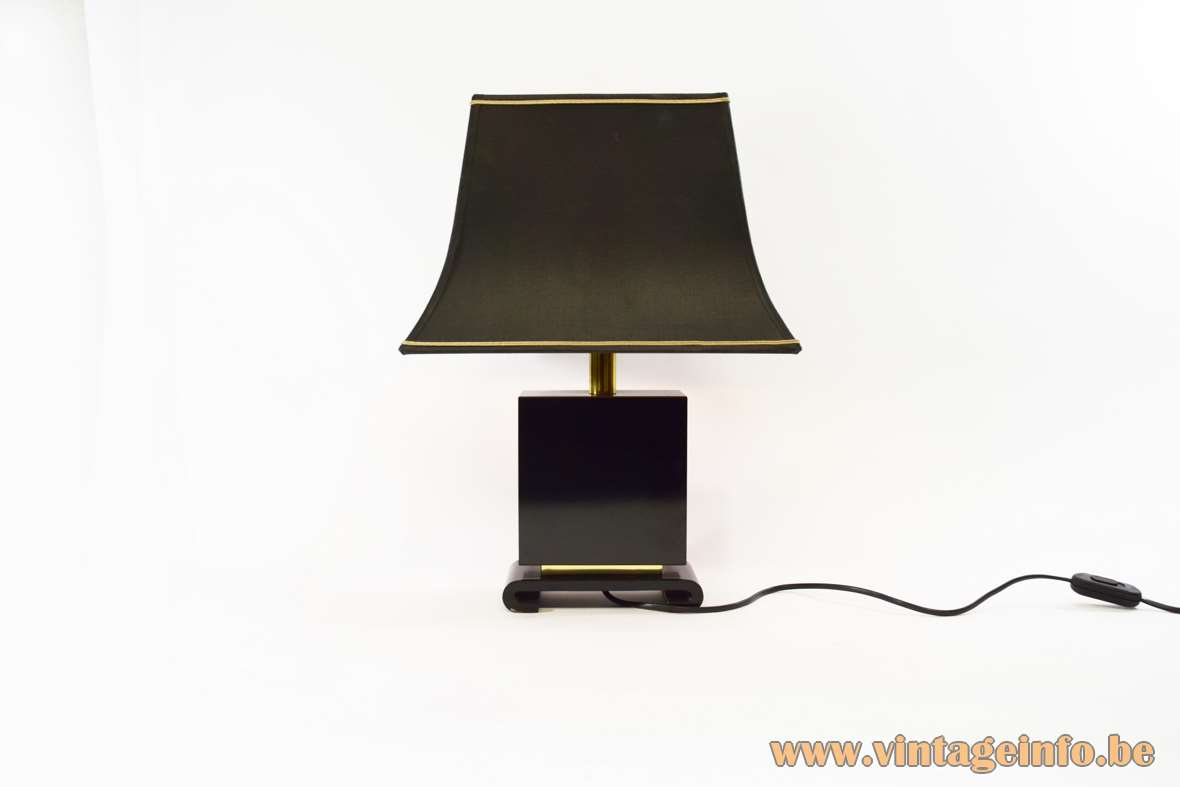 Tu Chin Table Lamp black wood pagoda lampshade Chinese painting Enjoying Antiquities 1970s 1980s Hollywood Regency