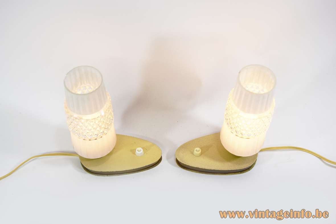 1950s Bedside Lamps oval, egg shaped flat base, cream wrinkle paint, brass, pressed glass lampshades