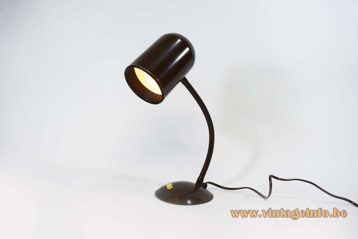 1970s gooseneck desk lamp brown round curved base pill tube lampshade Massive Belgium E27 socket