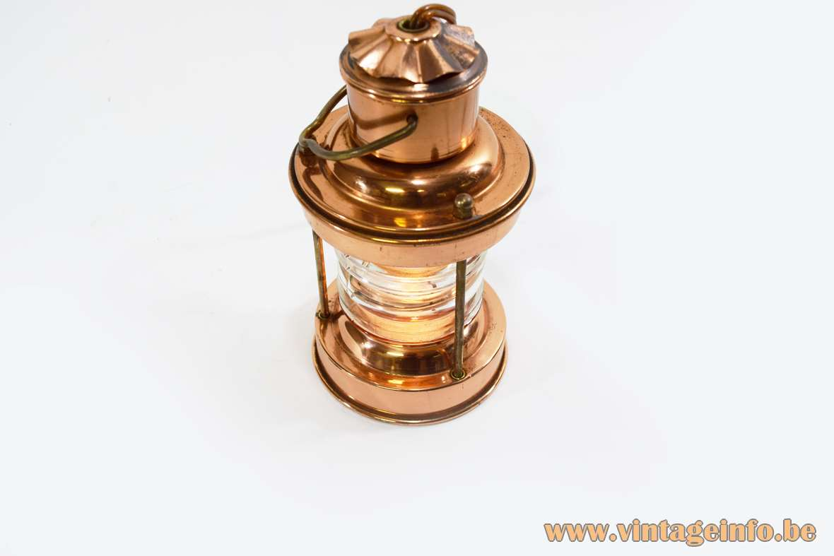 Ankerlantaarn 3 Table Lamp Round copper ship light thick round glass 1960s DHR Den Haan Rotterdam