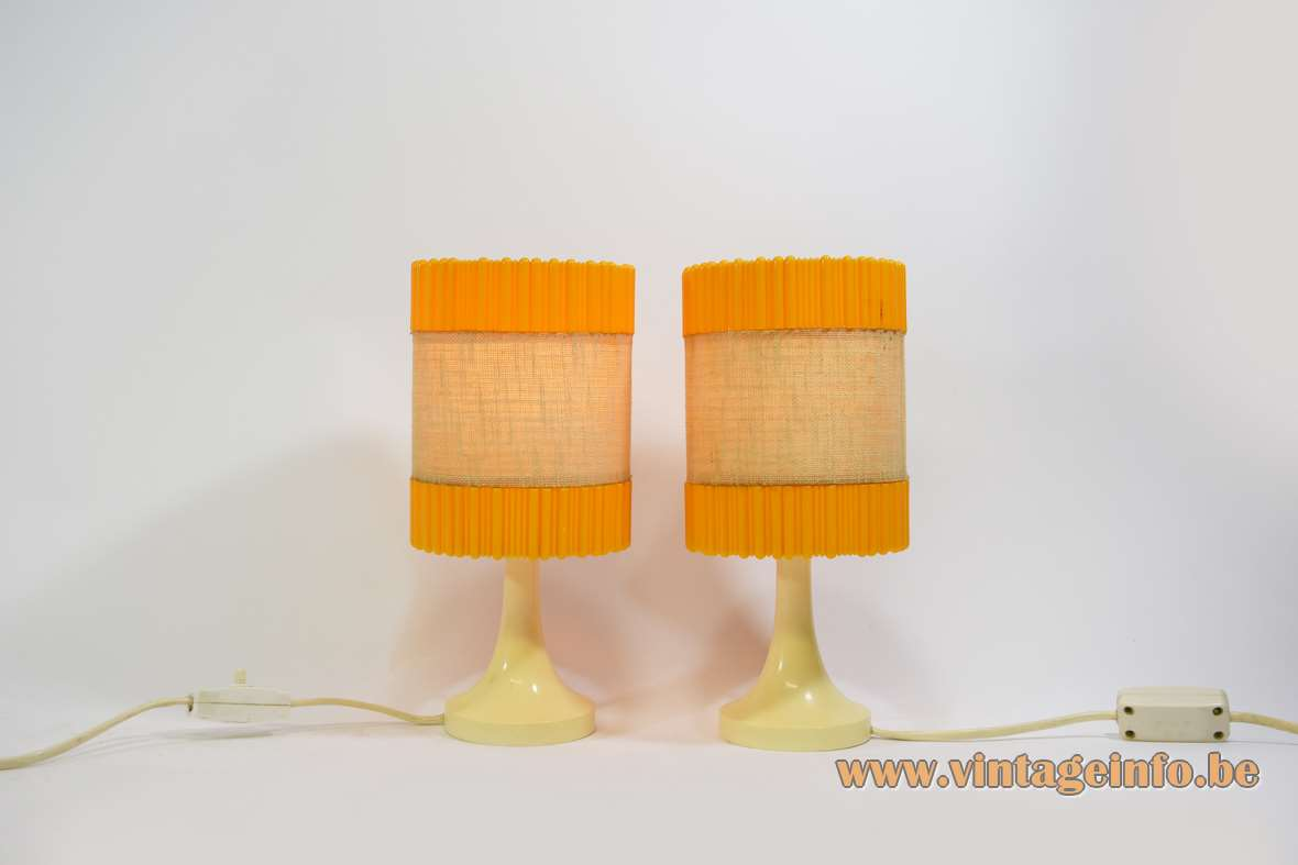 Aro Leuchte Bedside Lamps cream cloured plastic base orange round plastic lampshades Germany 1960s 1970s MCM