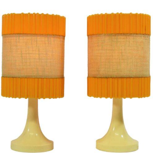 Aro Leuchte table lamps cream beige plastic base orange lampshades Germany 1960s 1970s MCM Mid-Century Modern