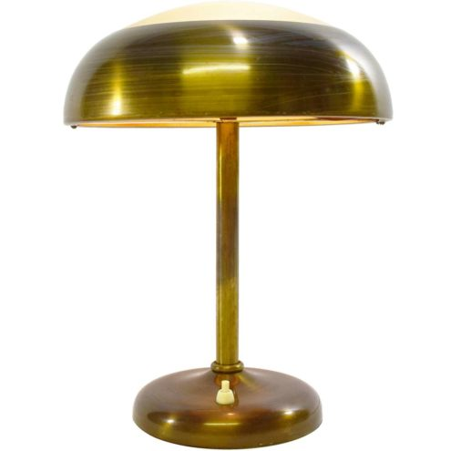 Bauhaus table lamp brass round base and lampshade frosted glass diffuser 1930s 1940s 1950s art deco