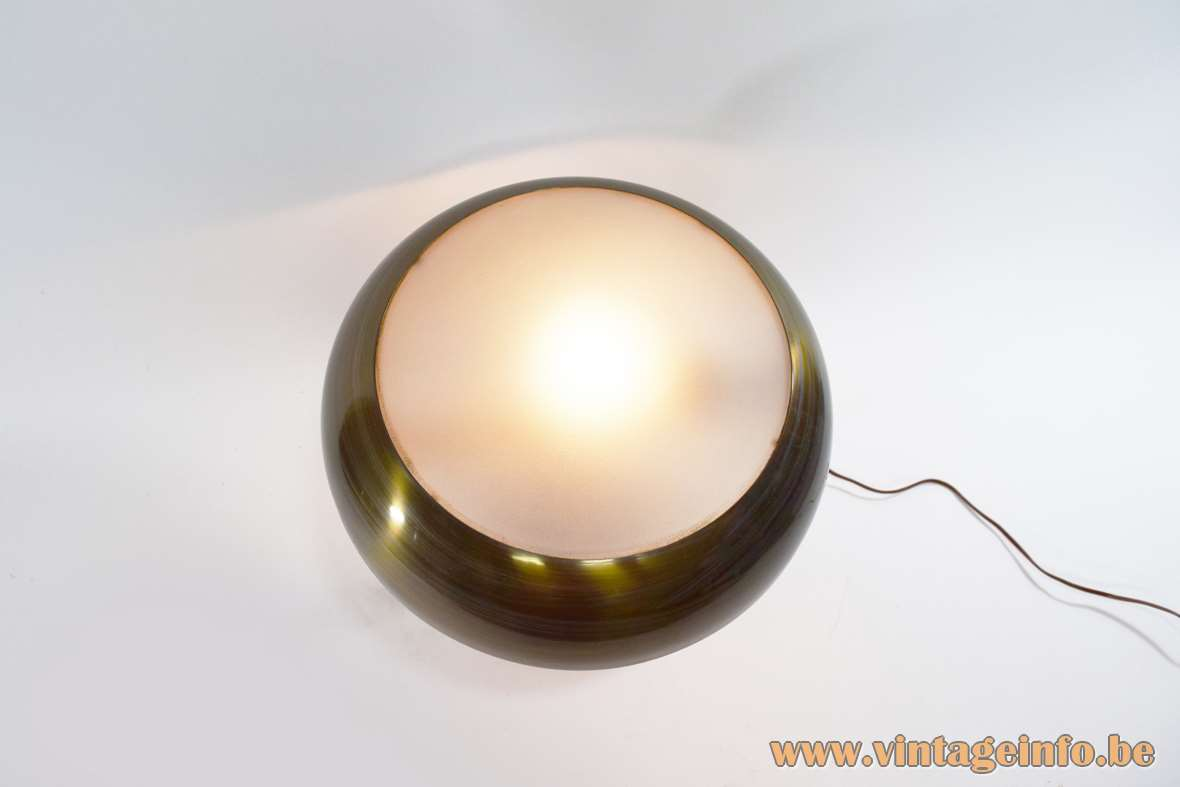 Bauhaus Brass Table Lamp round base and lampshade frosted glass dome on top 1930s-1950s