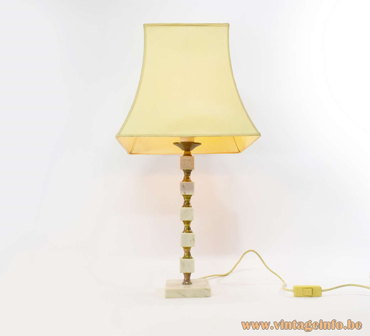 Bulgarian table lamp square marble base & cubes brass rod white pagoda lampshade 1960s 1970s