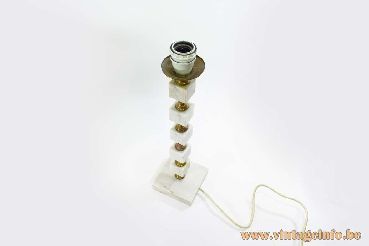 Bulgarian Table Lamp square marble base and cubes brass rod and ornaments pagoda lampshade 1960s 1970s