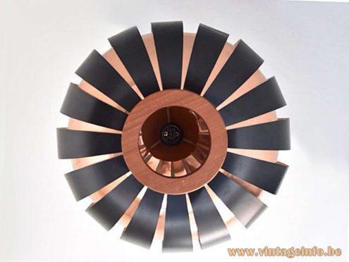 Coronell Elektro Globe Pendant Lamp design: Werner Schau copper black painted metal slats teak 1960s 1970s