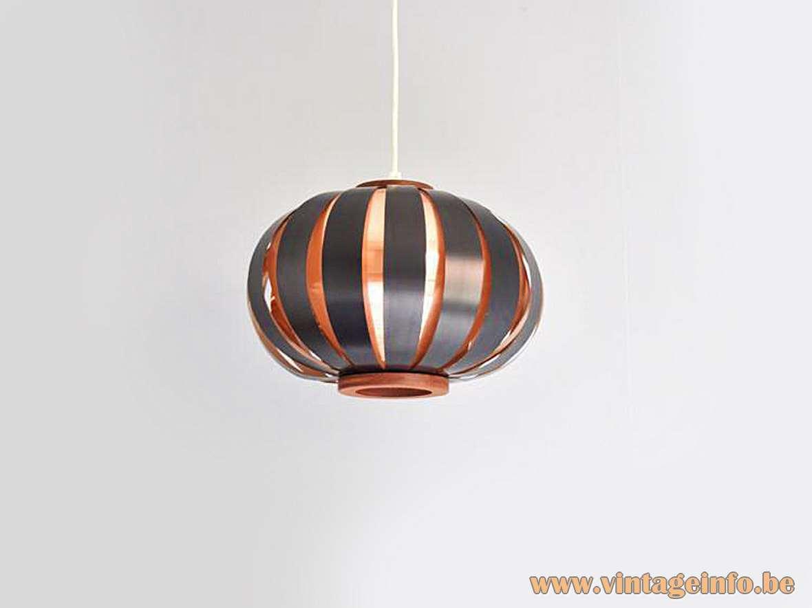 Coronell Elektro globe pendant lamp design: Werner Schou copper black metal slats teak 1960s 1970s MCM