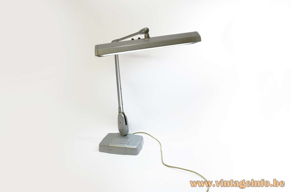 Dazor Floating Fixture 2324 Work Lamp gray painted metal pivoting poise balancing 1940s 1950s 1960s MCM