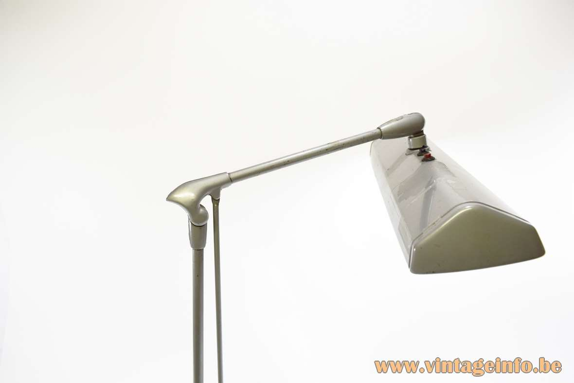 Dazor Floating Fixture 2324 work lamp grey metal base & rectangular balancing lampshade 1940s 1950s 1960s 1970s