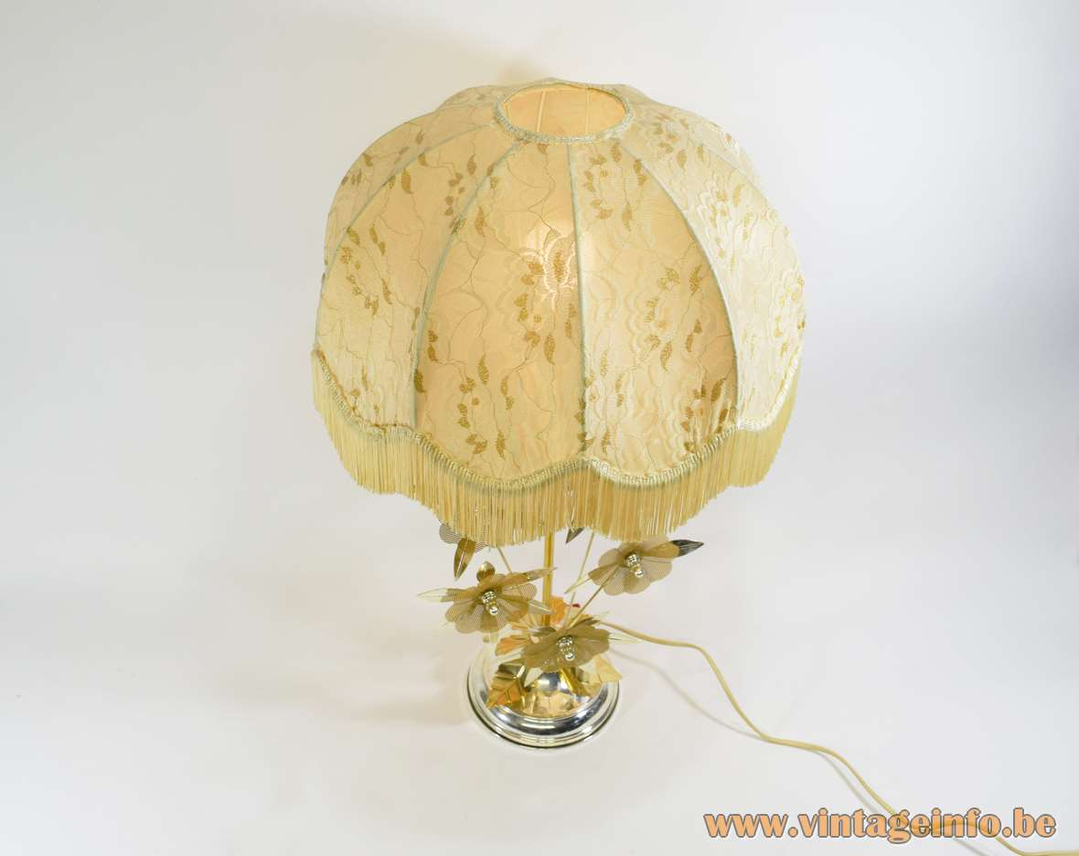 Flower Kitsch Table Lamp gold coloured anodized aluminium metal flowers fabric lampshade frills 1970s