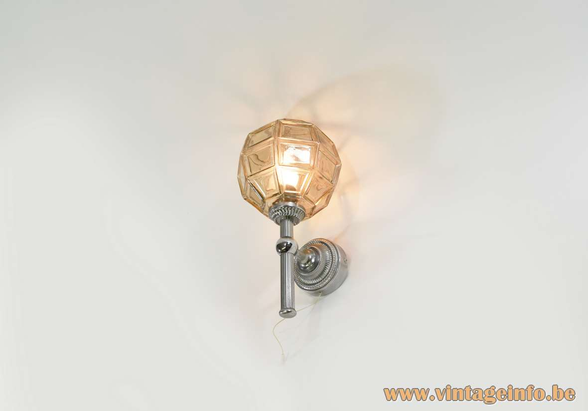 Honsel Leuchten Wall Lamp amber faceted glass globe chrome rod and wall mount 1960s 1970s MCM